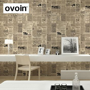 Vintage English Letter Wall Paper Newspaper Wallpaper Old Newsprint Paper Roll For Living Quarters Decor Black on Cream/Beige