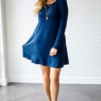 Navy-Blue-Basic-Long-Sleeve-Dress