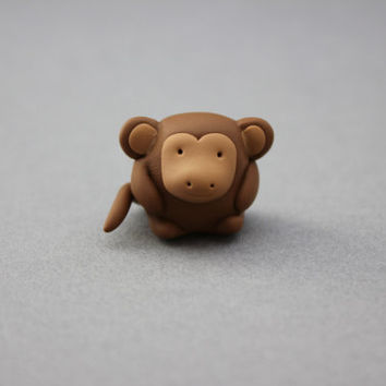miniature monkey totem tiny polymer clay monkey figurine