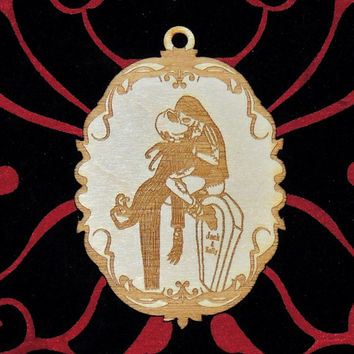 Jack and Sally Kissing Wood Ornament