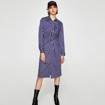 STRIPED TUNIC WITH KNOT DETAILS
