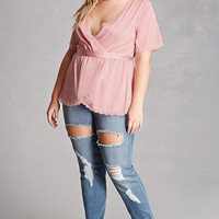 Plus Size Belted Satin Top