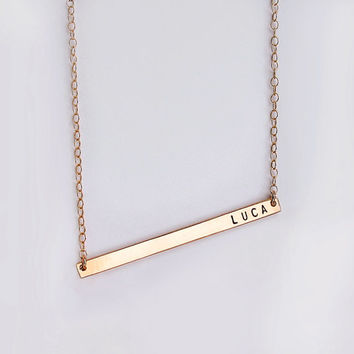 Nameplate necklace - Skinny bar necklace - Personalized necklace with tiny font - Date and name necklace - New mom jewelry