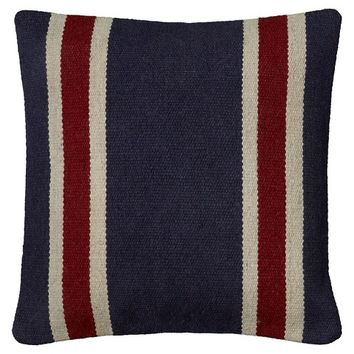 "Rizzy Home Woven Stripe Decorative Accent Pillow - Navy/Red (18""x18"")"