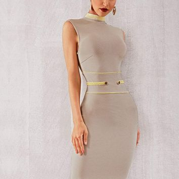 Zip Back Rope Button Detail Bodycon Dress