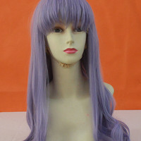 Free Shipping Anime Cosplay Wig Athena Long Wavy With Straight Bang Elegant Purple Synthetic Hair Heat Resistant Party Costume