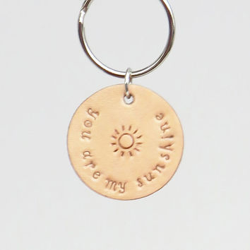 Two-sided leather you are my sunshine leather keyring keychain daughter gift sister gift girlfriend gift