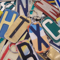 FREE SHIPPING Keychain  PICK Your Initial Handmade Key Chain  Upcycled Recycled Repurpsosed License Plate Art  Best Selling Etsy trending
