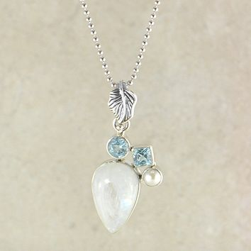 Designer Moonstone and Amethyst Pendant Necklace in Sterling Silver