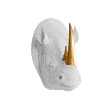 The Serengeti | Large Rhino Head | Faux Taxidermy | White + Bronze Horns Resin
