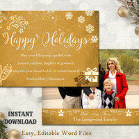 Christmas Card Template - Holiday Greeting Card - Gold White Christmas Card - Printable Download Card - Photo Card - Editable Word Template