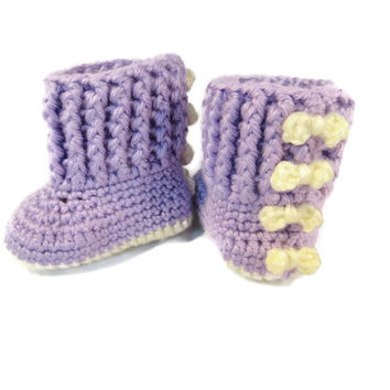 Baby Boots Booties Shoes Purple Cream Bows
