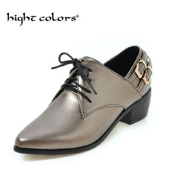 2018 Spring Black Square Heels Pointed Toe Lace Up Oxfords Women Casual Shoes Fashion Pu Leather Ladies Shoes Size 34-43