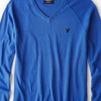 AEO Men's Solid V-neck Sweater (Cobalt Blue)