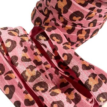 "Pink leopard printed 5/8"" fold over elastic FOE"
