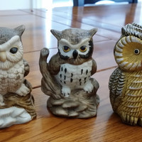 Set of 3 Painted Ceramic Vintage Owl Figurine Statue Great Spring Woodland Decor
