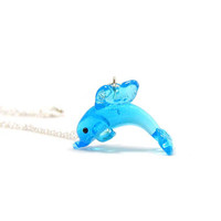 Lampwork Glass Dolphin Necklace, Charm Necklace, Charm Jewelry, Dolphin Pendant, Dolphin Jewelry, Dolphin Charm, Baby Dolphin Charm