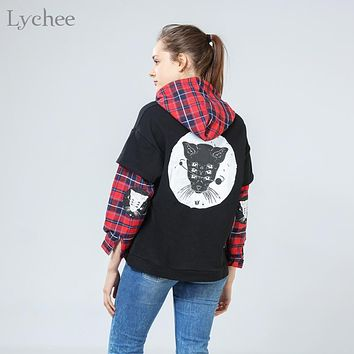 Harajuku Gothic Punk Cat Printed Plaid Patchwork Long Sleeve Hoodie Sweatshirt - 2 Pieces