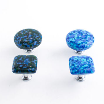 Fused Glass Knobs, Cabinet Handles, Drawer Pulls, Blue Kitchen Decor, Round or Square Knobs, Furniture Hardware, Home Accessories