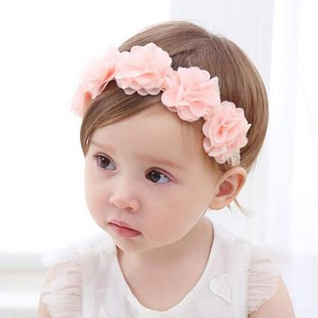 Flower Pink Ribbon Cute Baby Girl Child Infant Toddler Head Wraps Bandana Headband