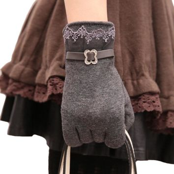 Women Winter Gloves Mitten 2016 New Fashion Lace Cotton Warm Internal Fluff Female Ladies  Touch Screen Quality Mittens Gloves