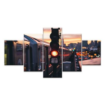 Canvas Painting Wall Art Home Decor For Living Room HD Prints 5 Pieces City Night Landscape Modular Poster Pictures
