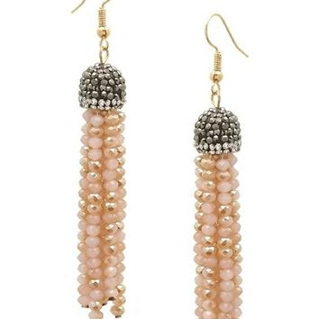 Stone Pave Cap Crystal Tassel Earring, Pink