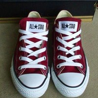 """Converse"" Fashion Casual Canvas Flats Sneakers Sport Shoes Dark Red G"