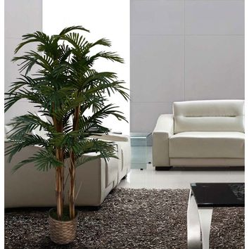 Tall High End Realistic Silk Floor Palm Tree in Planter
