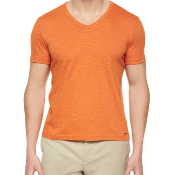Slub-Knit V-Neck Tee,