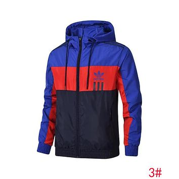 """Adidas"" Trending Men Stylish Hooded Sweatshirt Cardigan Jacket Coat Windbreaker Blue/Orange/Navy Blue 3# I13112-1"