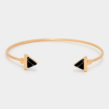 Arrowhead Natural Stone Turquoise Cuff Bangle Bracelet - Gold / Black