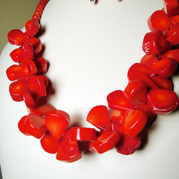 Red Bamboo Coral Necklace, Organic Gemstone Jewelry in Sterling Silver with Red Bamboo Coral Earrings*