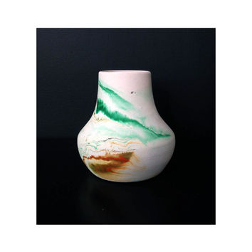 Vintage Nemadji Pottery Vase / Green and Orange Swirls