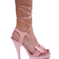 Baby Pink Wrap Around Sandal 6 Inch Heel-Stripper Shoes