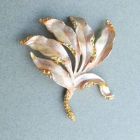 Vintage Signed CORO Peach Enamel Nautical Seaweed Pin