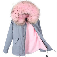 Winter fashion Raccoon Fur Winter Coat