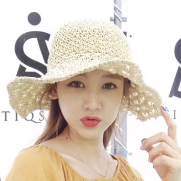 Folding Manual Large  Straw Knit Hat Woman Lady Summer Vacation Sunscreen Hat Wide Brim 56-58CM Round 12CM Brim