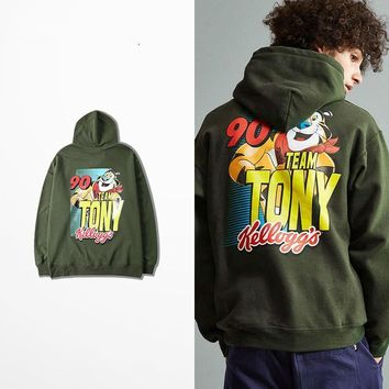 ca auguau Cartoon Cat 90 Team Tony Hoodie