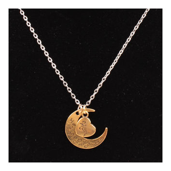 X329 love Valentine's Day love couple of European and American moon necklace ebay jewelry supply   MOM GOLD