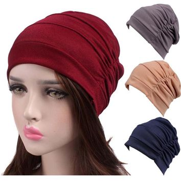 Women New Elastic Cap Turban Muslim Cancer Chemo Hat Beanie Scarf Turban Head Wrap Cap High Quality Travel Street Take Photo