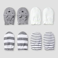 Baby 4 Pack Mitten Set Baby Cat & Jack™ - White/Heather Grey : Target