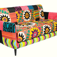 Bohemian Suzani Orange Wave Couch