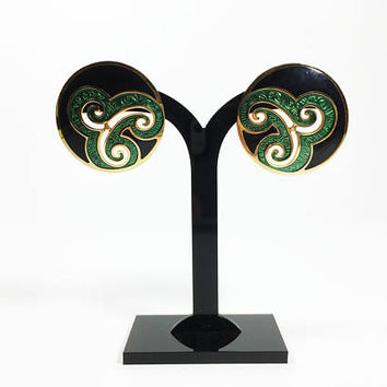Edgar Berebi Signed Black Green Gold Pierced Earrings, Vintage 1980s Modernist Abstract Open Work Studs