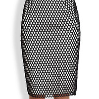 Heyden Mesh-Overlay Pencil Skirt