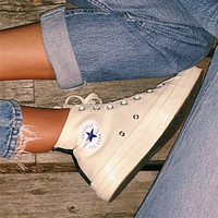"""Converse"" Fashion Canvas Flats Sneakers Sport Shoes High tops Beige"