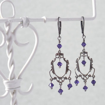 Gunmetal Art Deco Filigree Chandelier Earrings With Rich Deep Amethyst Purple Swarovski Crystals Handmade Earrings