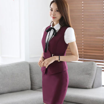 New Multi-color Hotel Work Clothes Summer Assistant Professional Beauty Beautician Front Cashier Stewardess Skirt Uniform Suit