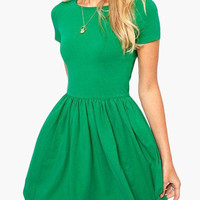Short Sleeve High-Waisted Skater Dress
