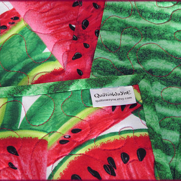 Quilted Table Runner, Pink Watermelon, Table Decor, Summer Decor 830